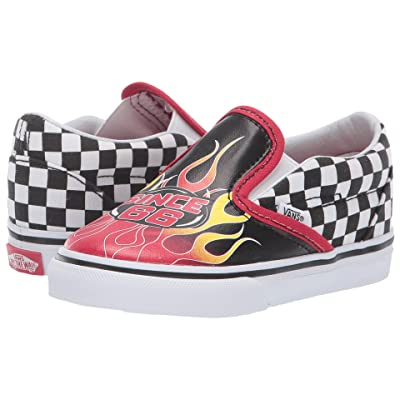 Vans Kids Classic Slip-On (Infant/Toddler) ((Race Flame) Black/Racing Red/True White) Boys Shoes