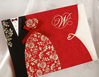 1 Sample WISHMADE Traditional Chinese Style Red Wedding Invitations Cards Kit with Envelopes, Printable Chinese Black and Red Invites for Wedding with Tuxedo and Dress Design CW1051