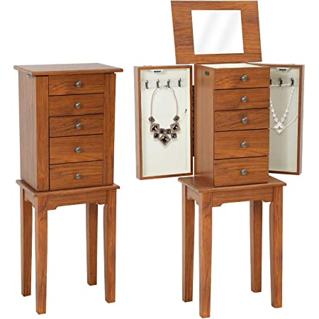 Jewelry Cabinet Jewelry Chest Jewelry Armoire Wood Jewelry Box Storage Stand Organizer with Side Doors Drawers Makeup Mirror (5 Drawers)