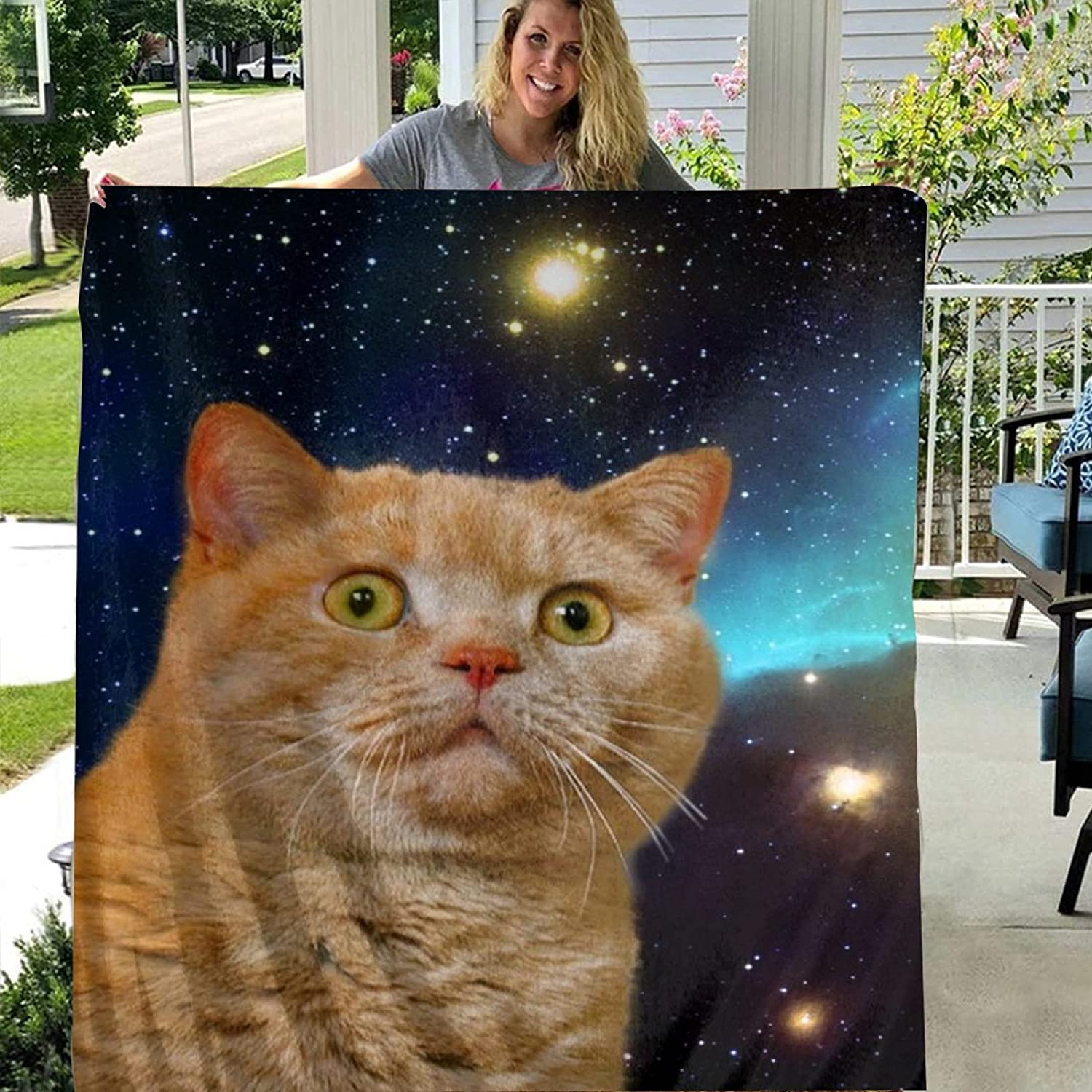 OFFicial mail order store51 TENAIKI Sale SALE% OFF Space Cat Cute Funny Blanket Throw Soft Ultra Fl