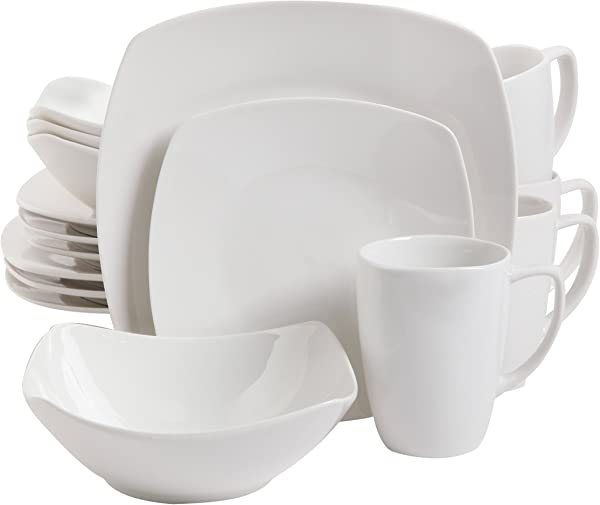 Gibson Home Zen Buffetware 16 Piece Dinnerware Set White