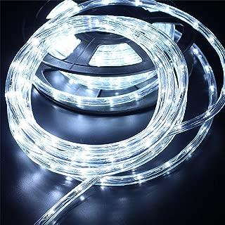 PYSICAL® 110V 2-Wire Waterproof LED Rope Light Kit for Background Lighting,Decorative Lighting,Outdoor Decorative Lighting,Christmas Lighting,Trees,Bridges,Eaves (50ft/15M, White)