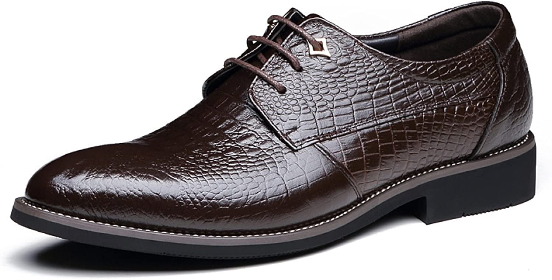 GTYMFH Herren Leder Britische Krawatten Krokodil Muster Kleid Oxford Schuhe Schwarz Braun