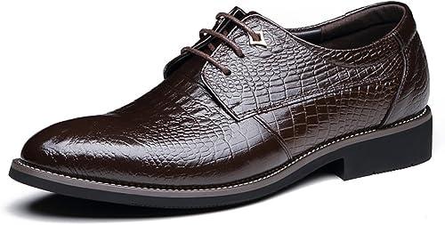GTYMFH Herren Leder Britische Krawatten Krokodil Muster Kleid Oxford Schuhe SchwarzBraun