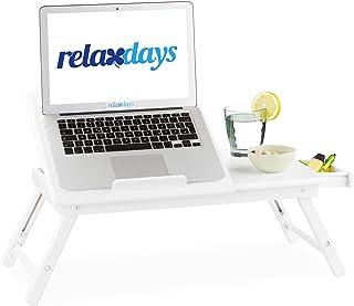 Relaxdays Mesa Ordenador Portátil para Cama y Sofá con Cajón, Bambú, 24 x 60 x 35 cm, Blanco