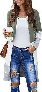 Women Boho Open Front Cardigan Colorblock Long Sleeve Casual Loose Knit Lightweight Sweaters