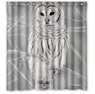 White Cute Owl Perch On Tree High Quality Fabric Bathroom Shower Curtain 66 x 72 Inches