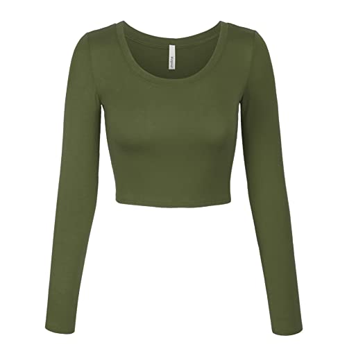 f096d251ca8 KOGMO Womens Long Sleeve Basic Crop Top Round Neck with Stretch