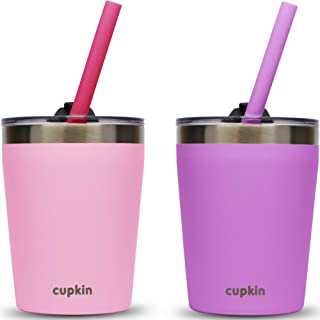 CUPKIN Stackable Stainless Steel Toddler Cups for Kids by - Set of 2 Powder Coated 8 oz Vacuum Insulated Tumblers, 2 BPA F...