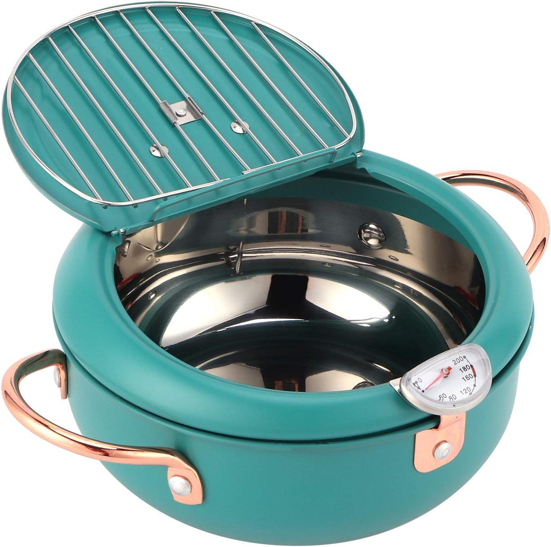 Freír La Olla Con El Termómetro Pan De La Freidora De Acero Inoxidable Japonés Para La Cocina De Inducción, Verde Profundo