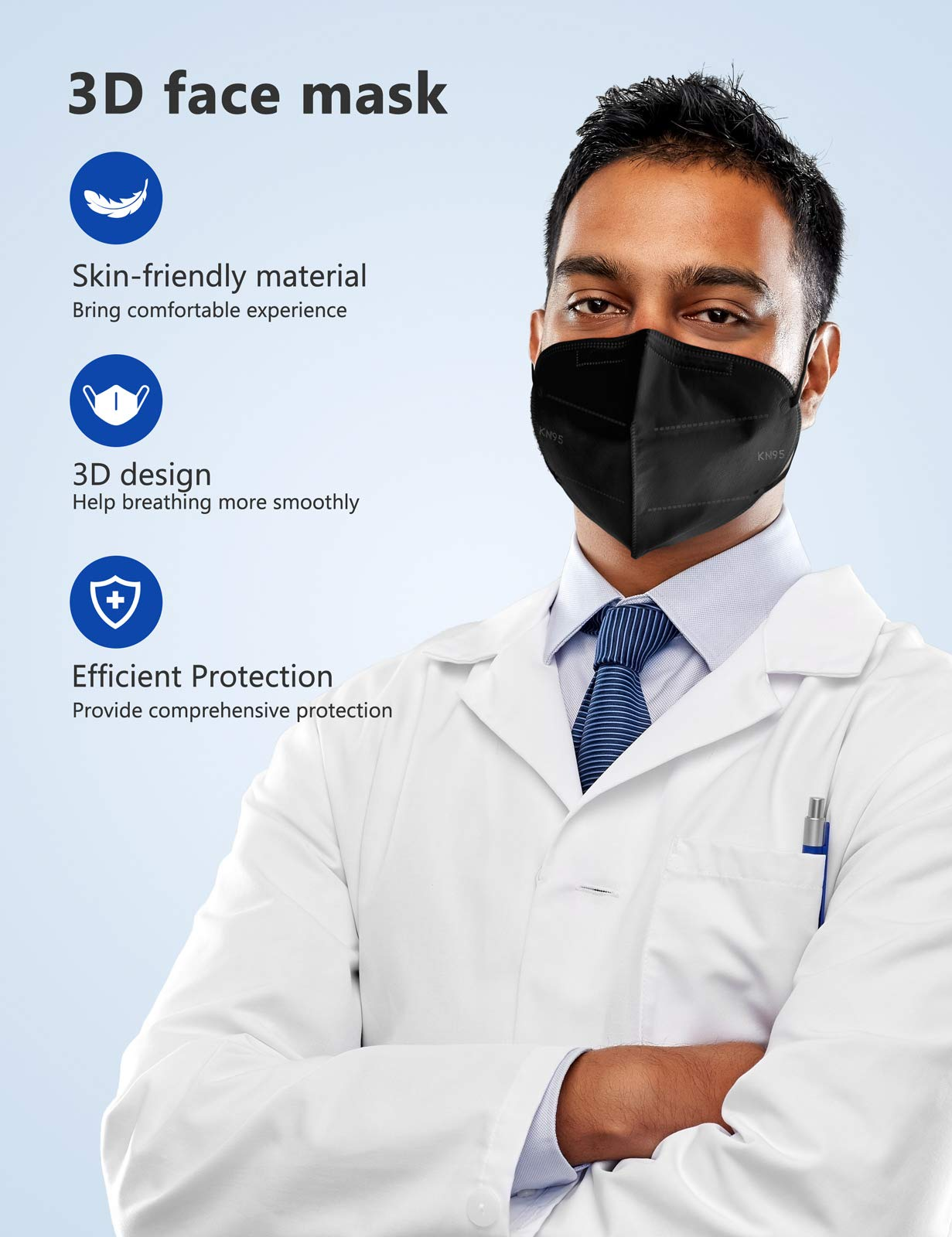Boncare KN95 Face Mask, Black KN95 Mask 50 Pack, 5-Layer Face Mask