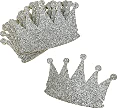 Homeford Glitter Foam Crown Cut-Outs, 4-1/2-Inch, 10-Count (Silver)