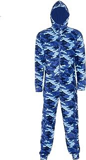 NOROZE Kids Onesie Boys Sleepsuits Fleece Hooded All in One Camo Aztec Men's Pyjamas Dad Son Matching Jumpsuit