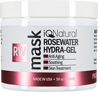 iQ Natural 5oz Rosewater Facial Mask, Anti-aging Soothing for Sensitive Skin, Hydrates & Tones