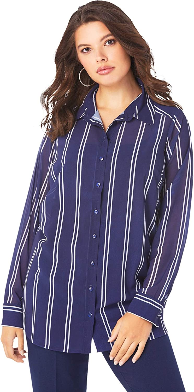 Roaman's Women's Plus Size Georgette Big Shirt Sheer Button Down Tunic Shirt Blouse - 28 W, Navy Double Stripe White