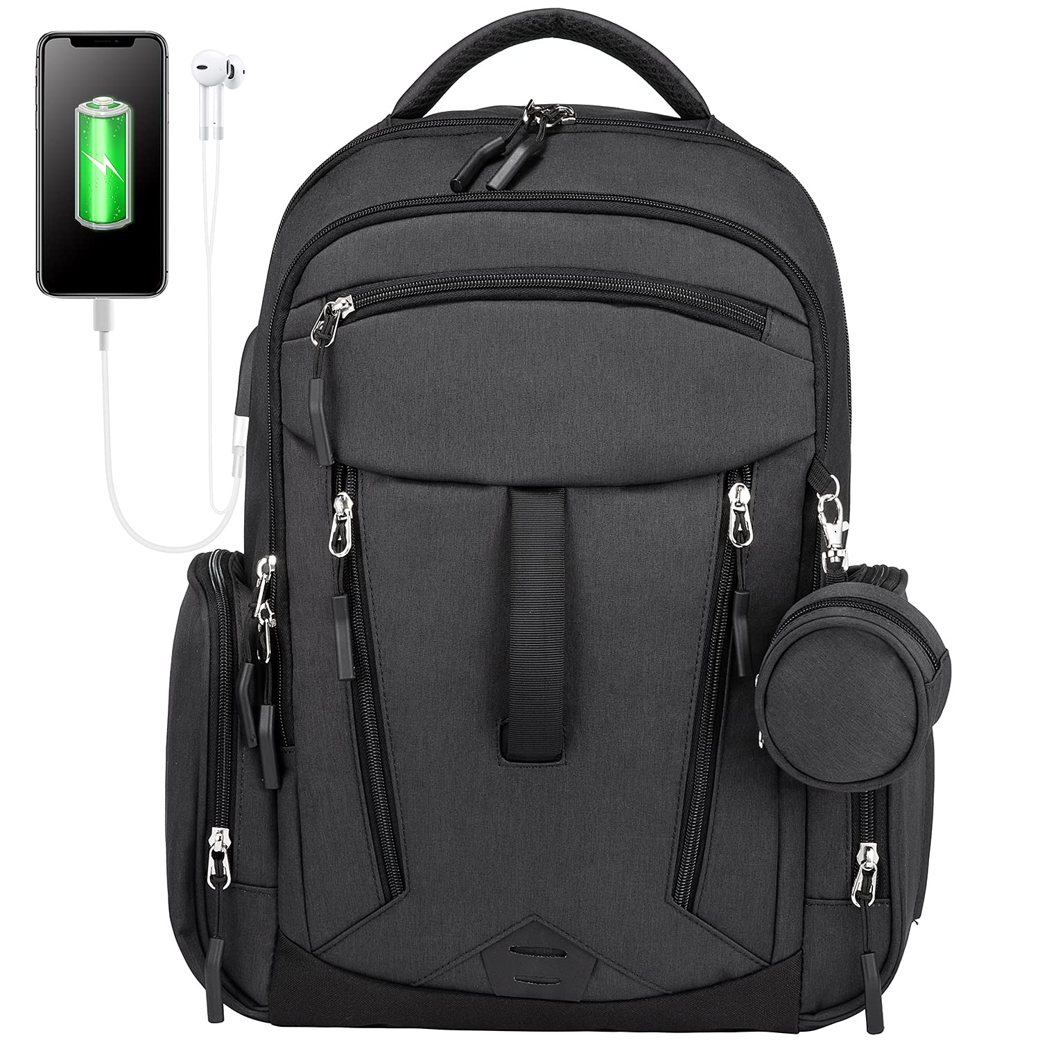 Diaper Bag Backpack, LOVEVOOK Multipurpose Baby Changing Bags Unisex Travel Back Pack, Equipped with USB Charging Port & Pacifier Box(Black)