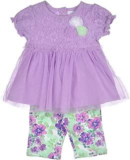 Infant Girls Lavender Tulle Top 2pc Floral Legging Set