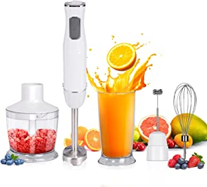 Rosydawn Immersion Hand Blender 5-in-1 1100W Hand Blender Including Sturdy Titanium Plated Stainless Steel Blades,BPA-Free 6-Speed stick blender for kitchen with Egg Beater, Beaker,Milk Frother