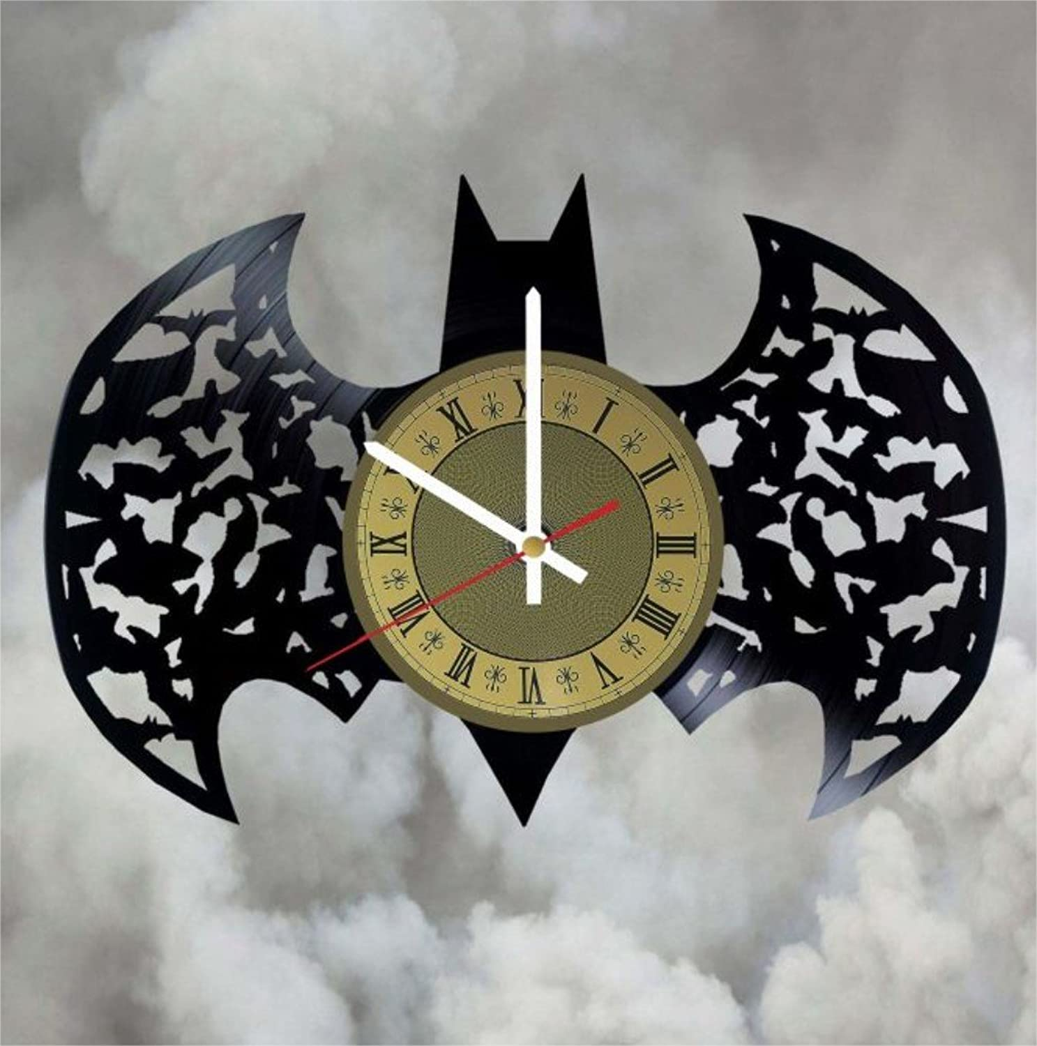Batman Design Vinyl Wall Clock DC Comics Great Gift for Men, Women, Kids, Girls and Boys, Birthday, Christmas Beautiful Home Decor - Unique Design That Made Out of Vinyl LP Record