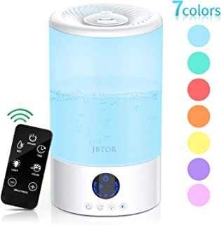 JBTOR Cool Mist Humidifier, 3L Ultrasonic Air Humidifier Essential Oil Diffuser for Large Bedroom, Home Baby with Touch Control, Color Mood Lights, Adjustable Mist Output, Auto Shut Off