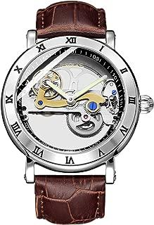 S2SQURE 腕時計 メンズ 自動巻き 究極のスケルトン 夜光 スチームパンク 革バンド 防水 ブラウン 格好良い 機械式
