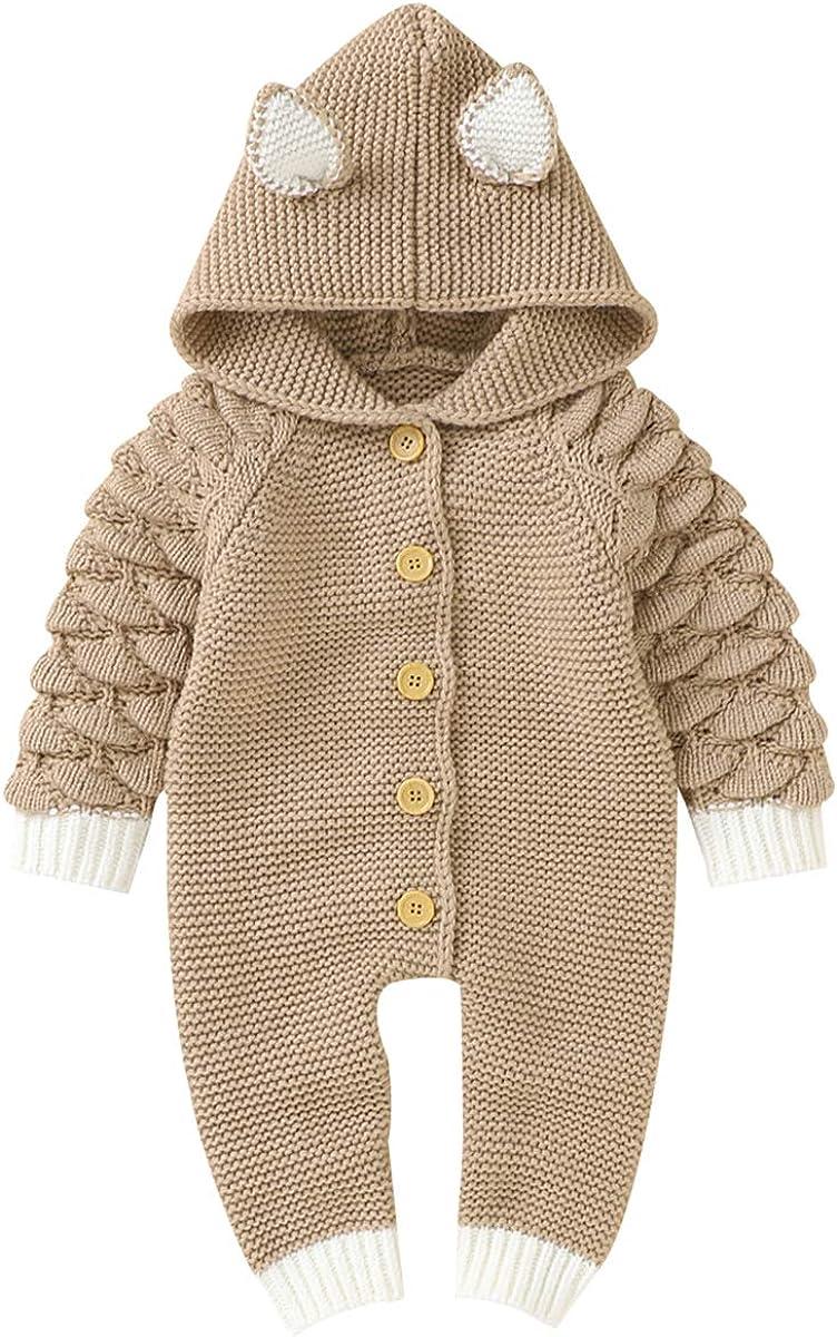 SH-RuiDu Newborn Baby Knit Romper Long Sleeve Hood Max 67% OFF Jumpsuit Albuquerque Mall Cute