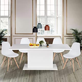 High Gloss White Extendable Rectangular Dining Table, Homy Casa Multifunction Space Saving Wood Table (High Gloss White Top)