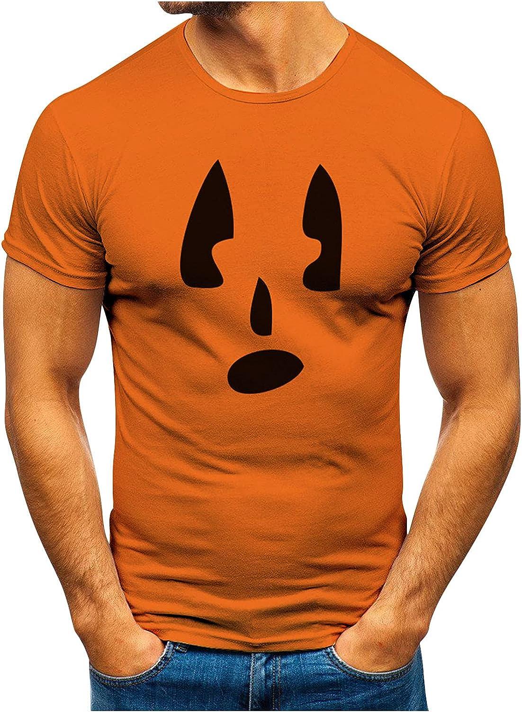 HONGJ Halloween Jack-O-Lantern T-shirts for Mens, Funny 3D Pumpkin Printed Athletic Crewneck Tee Tops Casual Tshirt