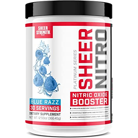 Caffeine Free Premium Nitric Oxide Boosting Pre Workout - Non-GMO - 30 Tingle-Free Preworkout Powder Servings for Men & Women - Blue Raspberry - Sheer Strength Labs - 349g - Packaging May Vary