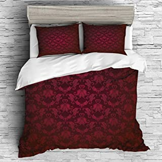4 Pcs 3D Printed Young Bedding Collections Lightweight, Hypoallergenic(Singe Size) Maroon,Victorian Damask Pattern with Vignette Effect Royal Revival Ancient Rich Motifs Decorative,Maroon Black