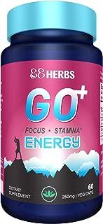 Go+ | Natural Energy Supplement | Increase Energy, Stamina & Focus | L Theanine + Non-GMO Caffeine + Rhodiola Rosea | 60 Veg caps | Premium Ingredients