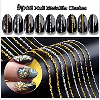 Lookathot 9pcs 3D Concise Metallic Chain Nail Art Stickers Decals 50cm Line Pattern Mixed Design Gold Silver Nail DIY Decoration Tools