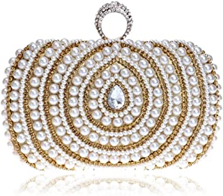 Redland Art Women's Fashion Mini Pearl Beaded Clutch Bag Wristlet Evening Handbag Catching Purse for Wedding Party (Color : Golden)
