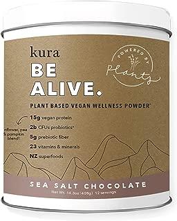 Kura Plant Based Protein Wellness Powder, Sea Salt Chocolate, 15g Protein, 23 Vitamins & Minerals, NZ Superfoods, Non-GMO, Gluten Free, Stevia Free, New Zealand Born (14.3 Ounce)