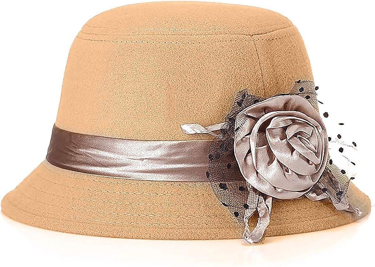 Glamorstar Vintage Felt Cloche Hat Winter Floral Fedora Bucket Hat Bowler Hats