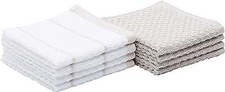 Amazon Basics 100% Cotton Terry Kitchen Dish Cloths, Popcorn Texture - 8-Pack, Beige Stripe