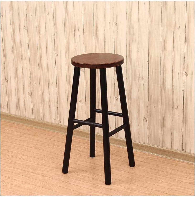 ZPWSNH Wrought Iron Bar Chair Wooden Highchair Bar Chair Wooden Bar Chair Bar Stool (color   Black)