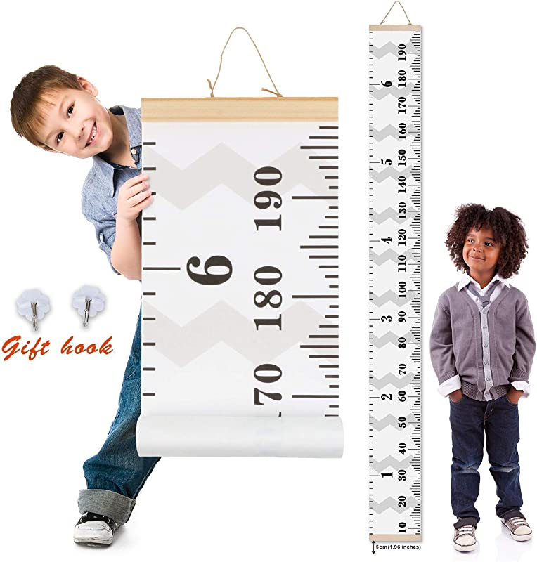 Crazy Curry Kids Growth Chart Wood Frame Fabric Canvas Height Measurement Ruler From Baby To Adult For Child S Room Decoration 7 9 X 79in 7 9 X 79in Flamingo
