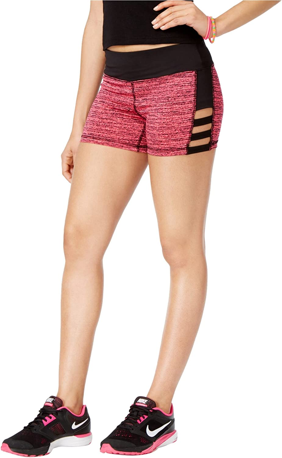 Material Girl Womens Cutout Athletic Compression Shorts