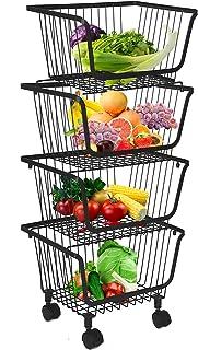 Corbeilles à fruits avec roues, corbeille en fil métallique empilable, corbeille à fruits, conteneur de rangement, organis...