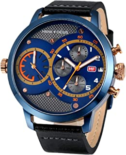 AMPM24 Mens Wrist Watch XXL Big Dial Dual Movement Minute Second Chrono Date Leather Band