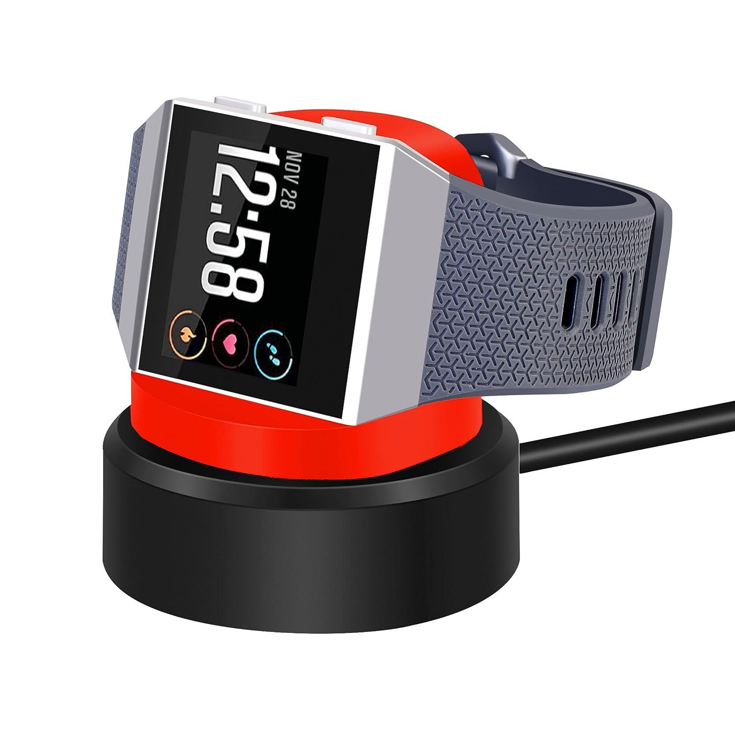 落ち着く触覚推測するKartice Compatible Fitbit Ionic 専用充電器 ワイヤレス、マイクロUSBケーブル 電クレードル チャージャー USB充電ケーブル 急速充電 Fitbit Ionicに対応スマートウォッチ充電器(赤+黒)
