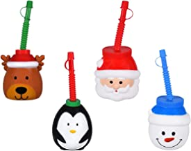 Children's Christmas Sipper Cups - Snowman, Reindeer, Santa Clause, and Penguin - Set of 4 Kids Cups For Travel, Parties, Holiday Events, and More