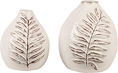 TERESA'S COLLECTIONS Ceramic Flower Vase, Rustic Home Decor, Decorative Farmhouse Vases with Vivid Leaf Pattern for Table, Living Room, Kitchen, Centerpieces, Wedding Decoration, Gift-Set of 2