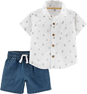 Carter's Baby Boys' 2-Piece Set Playwear Button Front Polo with Pocket Short Closure.