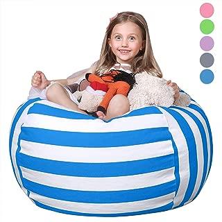"WEKAPO Stuffed Animal Storage Bean Bag Chair for Kids | 38"" Extra Large Beanbag Cover for Child | 48"" Quality YKK Zipper | Premium Cotton Canvas"
