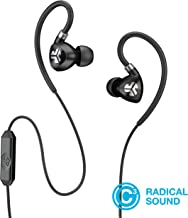 JLab Audio Fit2 Sport Earbuds, Sweatproof, Water Resistant with in-Wire Customizable Earhooks, Guaranteed Fit, Guaranteed for Life - Black