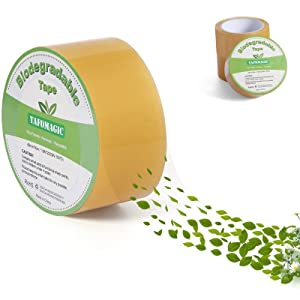 TAFOMAGIC Biodegradable Heavy Duty Packaging Tape, 1.9'' x 55 Yd, Designed for Packing, Shipping and Mailing, Environmental Protection Cellophane Materials, 3'' Core Fits Most of Tape Guns(3 Rolls)