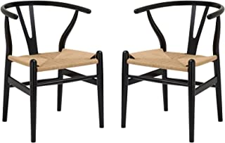 Poly and Bark Weave Modern Wooden Mid-Century Dining Chair, Hemp Seat, Black (Set of 2)