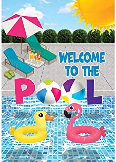 Custom Decor Welcome to The Pool - Garden Size, Decorative Double Sided, Licensed and Copyrighted Flag - Printed in The USA Inc. - 12 Inch X 18 Inch Approx. Size